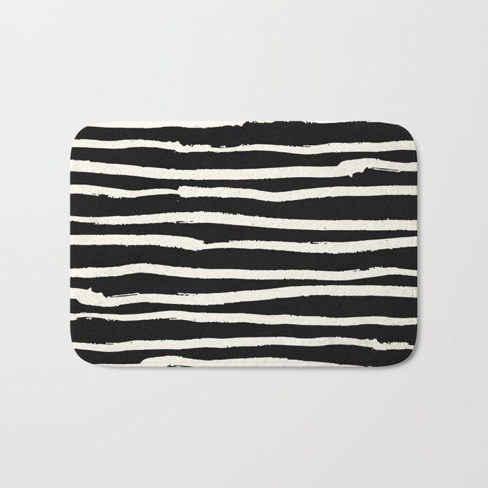 Hand Drawn Stripes on Black Bath Mat