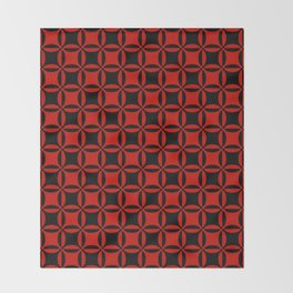 Geometry illusion in black and red Throw Blanket