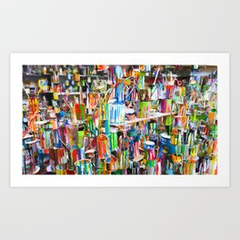 A lot dirty brushes in a bucket Art Print