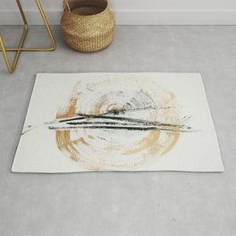 Gold and Black Minimal Abstract painting by Ingrid Beddoes Rug