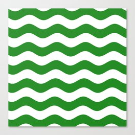 Wavy Stripes (Forest Green/White) Canvas Print