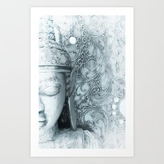Fade to White Budda Art Print