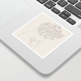 Woman with Flowers Minimal Line III Sticker
