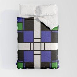 Neoplasticism symmetrical pattern in sapphire blue Comforters