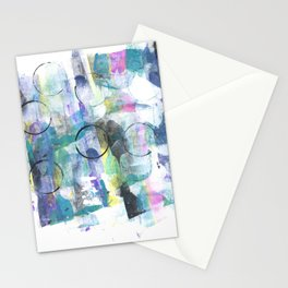 Green Blue Abstract with Black Circles Stationery Cards