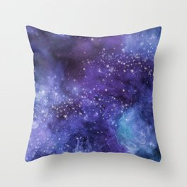 Stardust blue purple watercolor space Throw Pillow