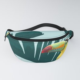 Green Toucan Tropical Banana Leaves Pattern Fanny Pack