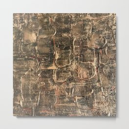 Textured Bronze Gold Metal Painting on Canvas Metal Print