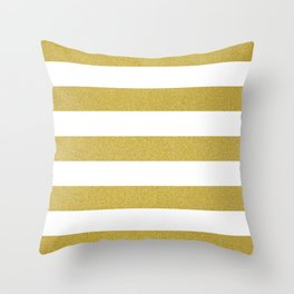 Stripes, Parallel Lines, Gold Glitter Throw Pillow