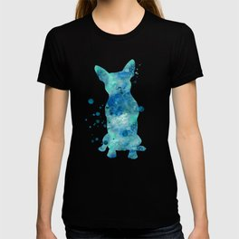 Boston Terrier Dog Watercolor Painting Blue Turquoise Aqua Mint T-shirt