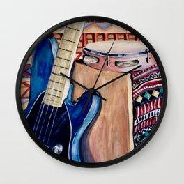 Blue Bass Guitar Wall Clock