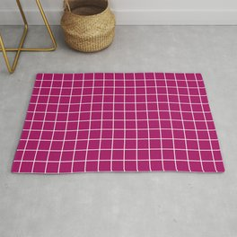 Jazzberry jam - violet color -  White Lines Grid Pattern Rug