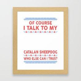 Catalan Sheepdog Ugly Christmas Sweater Framed Art Print