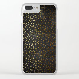 Gold polkadots dots on black backround-Elegant and Luxury Design Clear iPhone Case