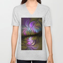 Come Together, Abstract Fractal Art Unisex V-Neck