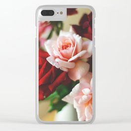 Pink and red rose Clear iPhone Case