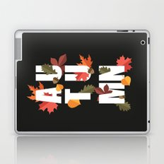 Autumn word and leaves WHITE Laptop & iPad Skin