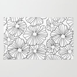 Original design with flowers made only with contour. Perfect for gifts, bags, clothes Rug