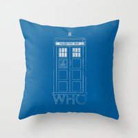 doctor who Throw Pillows featuring Doctor WHO by John Medbury (LAZY J Studios)
