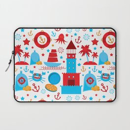 pattern with sea icons on white background. Seamless pattern. Red and blue Laptop Sleeve