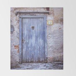 Old Blue Door Throw Blanket