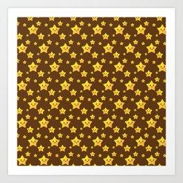 Cute Yellow Stars in Brown BG Art Print