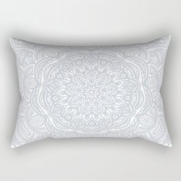 Light Gray Ethnic Eclectic Detailed Mandala Minimal Minimalistic Rectangular Pillow