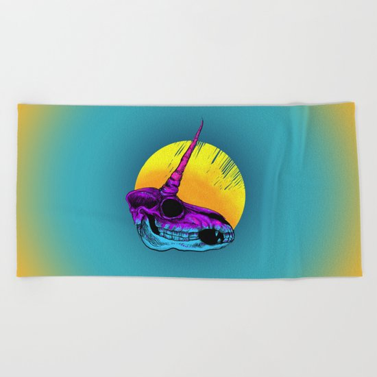 Unicorn Skull Beach Towel