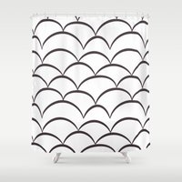 arya stark Shower Curtains featuring Stark Scales by SonyaDeHart