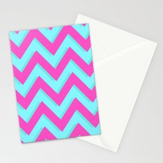 3D CHEVRON TEAL & PINK Stationery Cards