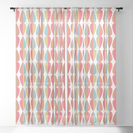 Retro 1970s Vintage Inspired Teardrop Pattern in Turquoise Orange Pink and Golden Yellow Sheer Curtain