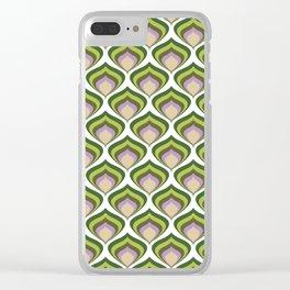 1970s retro avocado wallpaper Clear iPhone Case