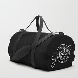 Jetsetter - White ink on black Duffle Bag