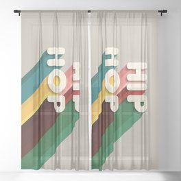 HIP HOP - typography Sheer Curtain