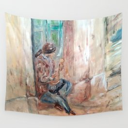 Street Musician in Rome Wall Tapestry