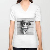 madoka V-neck T-shirts featuring MADOKA LINEUP by Christophe Chiozzi