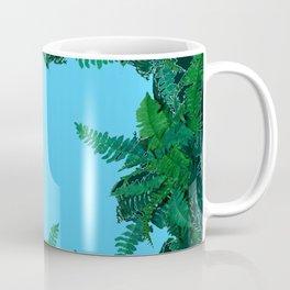 GREEN & BABY BLUE  FERN LEAVES ART Coffee Mug