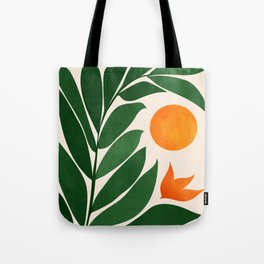 Tropical Forest Sunset / Mid Century Abstract Shapes Tote Bag