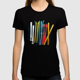 Colorful Ski Illustration and Pattern no 2 T-shirt