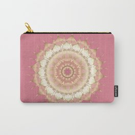 Delicate Gold Rose Mandala on Rose Pink Carry-All Pouch