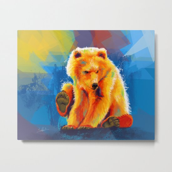 Play with a Bear Metal Print