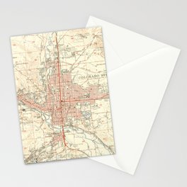 Vintage Map of Colorado Springs CO (1951) Stationery Cards