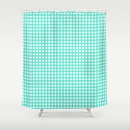 Farmhouse Gingham In Turquoise Shower Curtain