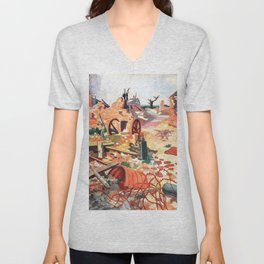 Colin Unwin Gill - This village changed hands five times during the war Unisex V-Neck