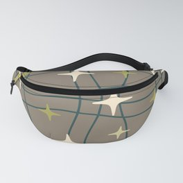 Mid Century Modern Cosmic Star Pattern 693 Teal Green Beige and Olive Green Fanny Pack