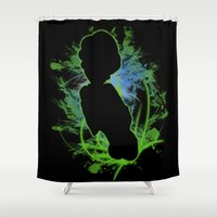 luigi Shower Curtains featuring Super Smash Bros. Luigi Silhouette by Jewl Echo