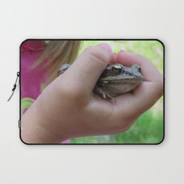 Child's Hand Holding Frog Laptop Sleeve