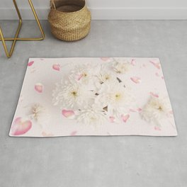 Soft Pink Flower Petals and White Flowers Rug