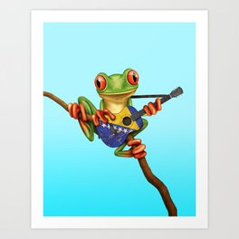 Tree Frog Playing Acoustic Guitar with Flag of Bosnia - Herzegovina Art Print