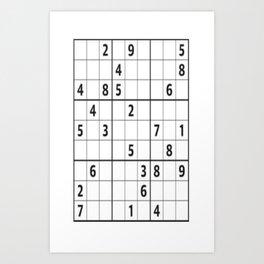 Sudoku Series: Hard Level - Mono Art Print